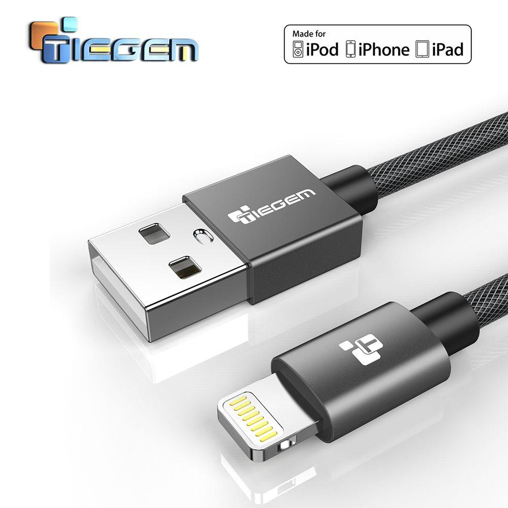 Câble Lightning certifié TIEGEM MFi pour iPhone 7 6 5 chargeur rapide câble de données USB pour iPhone 8X5 5 S cordon de charge iPad iPod