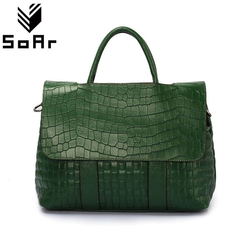 Fashion Crocodile Pattern Women Bag Genuine Leather Shoulder Messenger Bags Large Capacity Top-Handle Bags Handbags Female