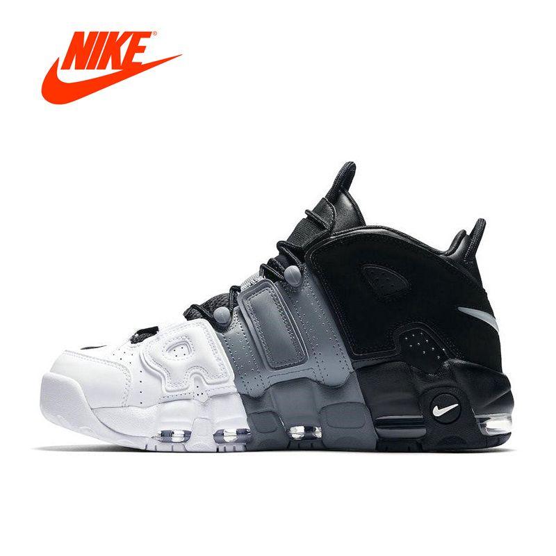 Оригинальный Новое поступление Аутентичные Nike Air более ритмично Tri-Цвет Для мужчин дышащие Баскетбольные кеды спортивные Спортивная обувь