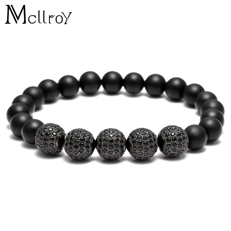 Mcllroy beaded bracelet men bracelet handmade matte onyx xircon charms CZ pave black yogas cuff bracelets pulseira masculina new