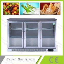 Frutas envío libre/bebida/torta/Pan 3 empujar y tirar puerta de cristal recta refrigeración refrigerada; vitrina