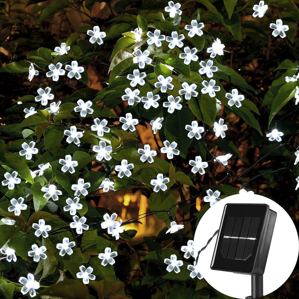 7 м Солнечные строк Рождество огни Открытый 23 фута 50 LED 3 режима Водонепроницаемый цветник Blossom Освещение партии Home украшения