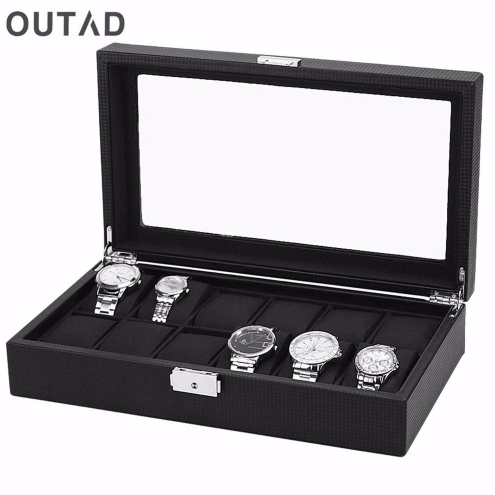 OUTAD 12 Grids 1PC Watch Box Case PU Leather Carbon Black Outer Black Inside Pillow Watch Storage Organizer Wristwatch Holder