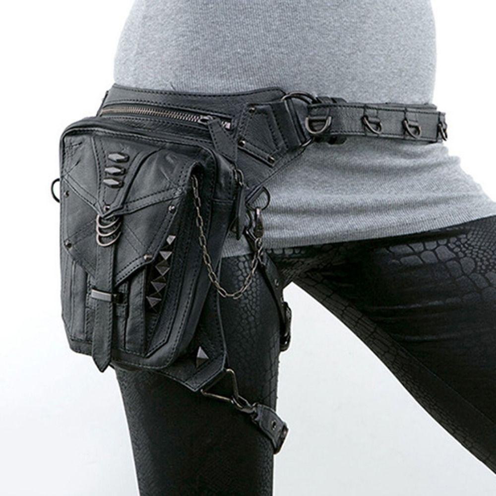 Unisex PU Leather Waist Fanny Leg Bag Motorcycle Rider Punk Rock Messenger Pack Gift