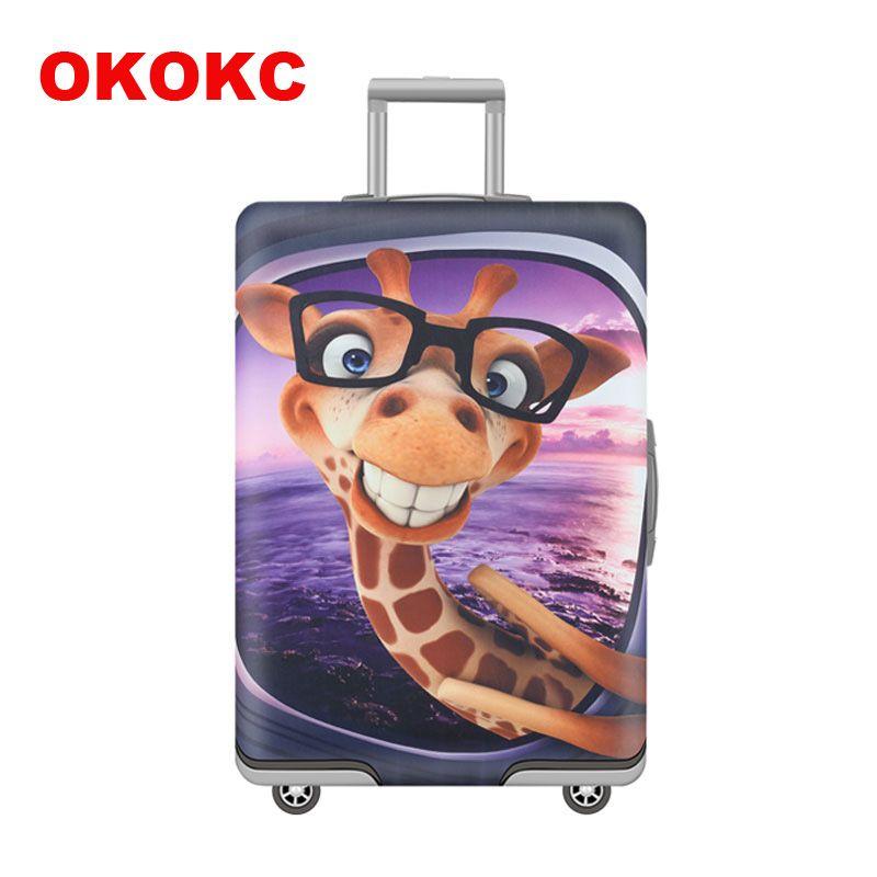 OKOKC Dessin Animé Girafe Motif Housse De Bagage Élastique S'appliquent à 19 ''-32'' Valise Couverture Épaisse, Accessoires De Voyage