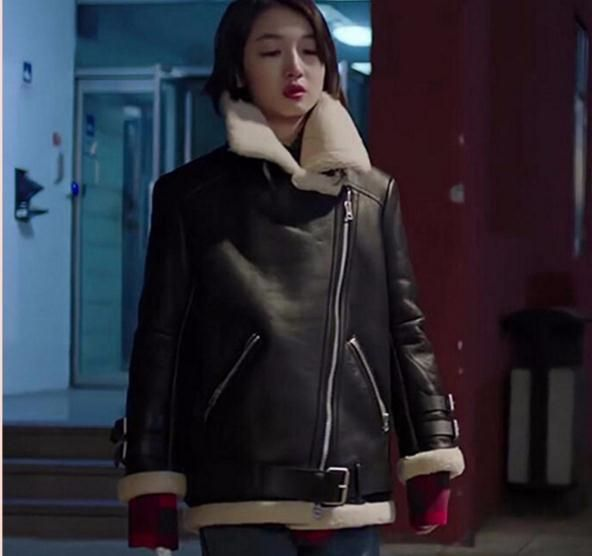 Free shipping,fashion womens 100% Genuine leather jacket,winter fur coat.sheepskin biker wool clothes,shearling