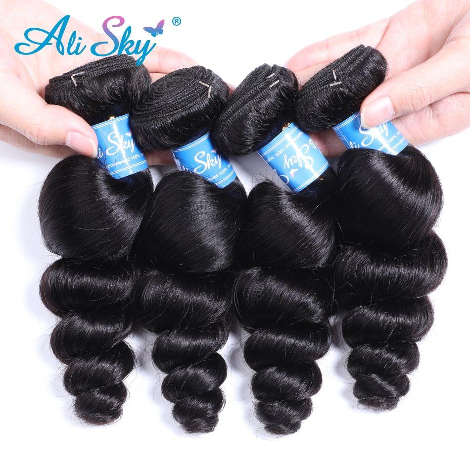 Alisky Malaisienne Vague Lâche Faisceaux Naturel Tissage de Cheveux Noirs 1/3/4 pièces 100% Extensions de Cheveux humains sans enchevêtrement remy Cheveux