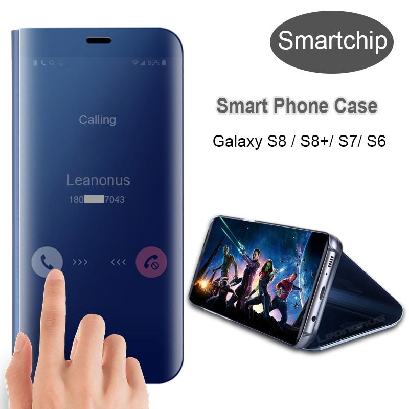 Smart Case Mirror Cover Clear View For Samsung Galaxy S8 Plus S7 S6 Edge Smart Bag Case For Samsung Note8 S9Plus Smart Chip Case