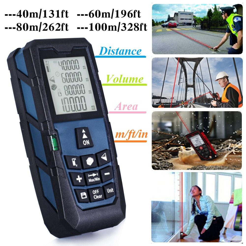 Darkblue Laser Distance Measurer Meter Rangefinder Measure Area/Volume 131ft (40m)/ 196ft (60m)/ 262ft (80m)/ 328ft (100m)