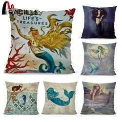 Miracille Marine Style Mermaid Painting Pattern Coffee House Chair Waist Decorative Cushion Cover Bedroom Throw Pillowcase 18