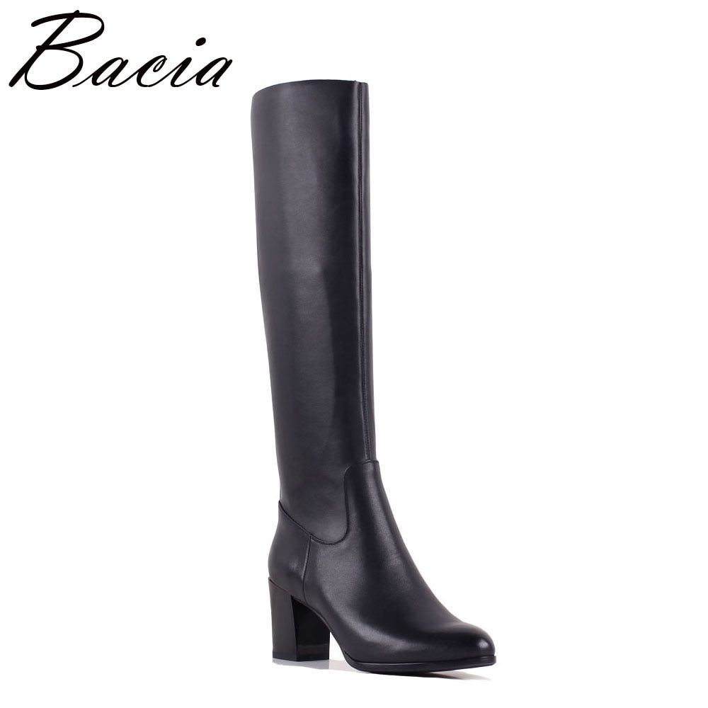 Bacia Genuine Leather + Elastic Pu Boots Women Fashion Spring Autumn Motorcycle Boots For Women Leather Shoes Size 35-40 SB060