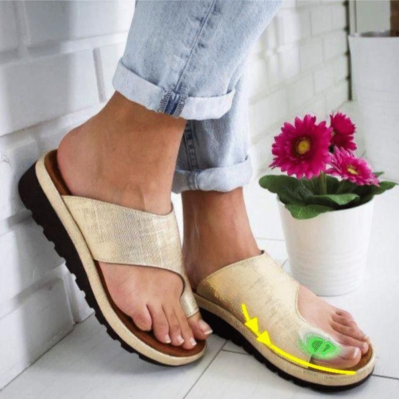 Factory Outlet Summer Sandals Women Shoes Flat Platform Slipper Solid Casual Foot Correction Sandals Orthopedic Bunion Corrector