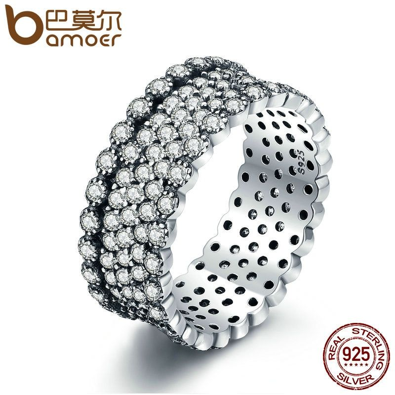 BAMOER 2018 New 100% 925 Sterling Silver Lavish Sparkling Ring, Clear CZ Finger Ring for Women Sterling Silver Jewelry PA7646