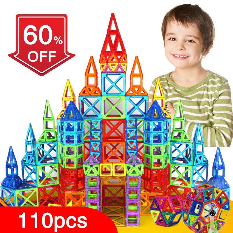 New 110pcs Mini Magnetic Designer Construction Set Model & Building Toy Plastic Magnetic Blocks Educational Toys For Kids Gift