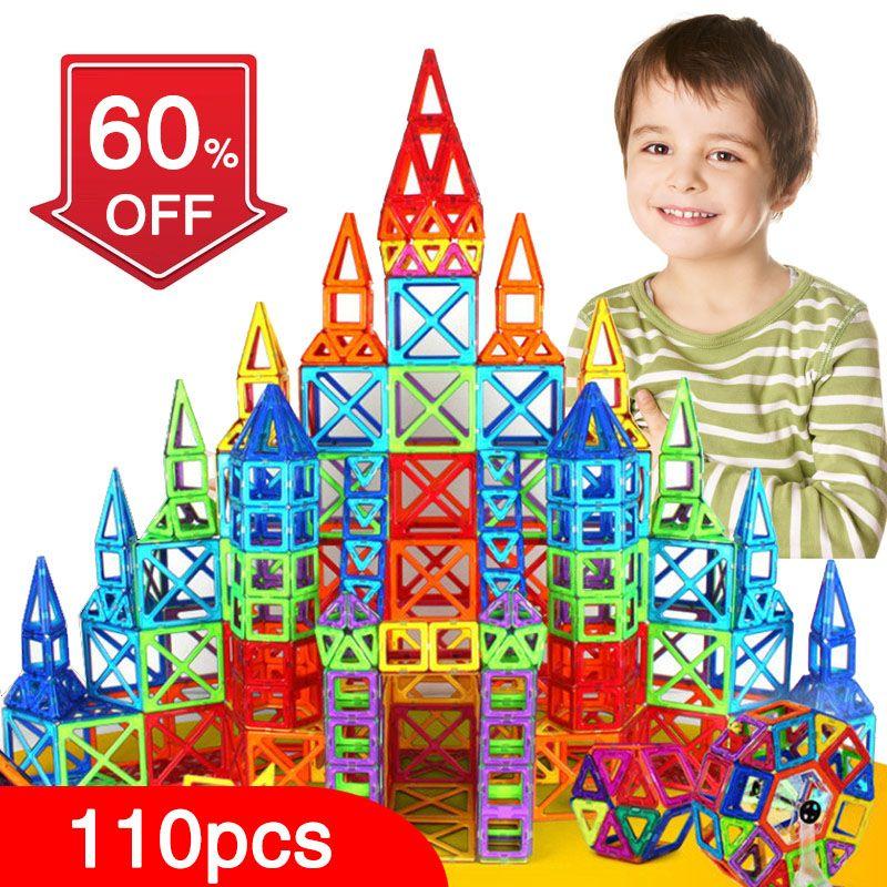New 110pcs <font><b>Mini</b></font> Magnetic Designer Construction Set Model & Building Toy Plastic Magnetic Blocks Educational Toys For Kids Gift