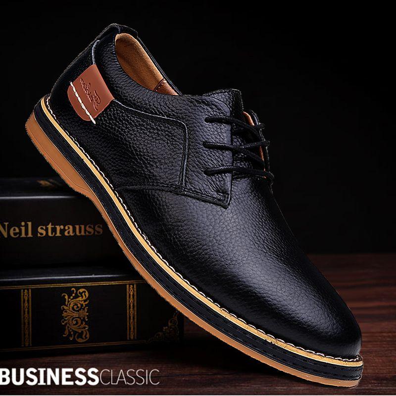 2019 nouveaux hommes Oxford en cuir véritable robe chaussures Brogue à lacets appartements hommes chaussures décontractées chaussures mocassins hommes grande taille 39-45