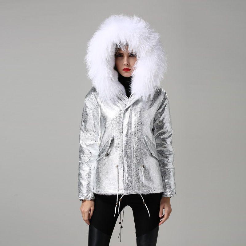 Women Fur Hooded Parka Padded Eal Fur Parka Silver Foil White Faux Fur Lined Parka with Natural Mr Mrs Fur Coat Parka 2016