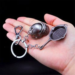 Game PUBG frying Helmet 98K AWM Playerunknown's Battlegrounds Cosplay Props Alloy Armor Model Key Chain Keychain Chicken Dinner