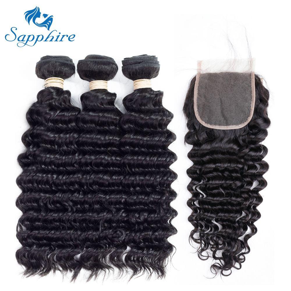 Sapphire Deep Wave Remy Human Hair 3 Bundles With Closure 1B#Color For Hair Salon High Ratio Longest Hair PCT 15% Brazilian Hair