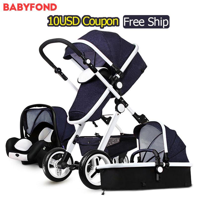 In Stock 7 color Gold Baby stroller two-way suspension folding newborn baby stroller centenarian 3 in 1 European stroller