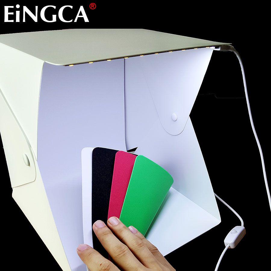Mise à jour monture 23 cm Mini pliable Studio Diffuse boîte souple avec lumière LED noir blanc rouge vert fond Photo Studio accessoires