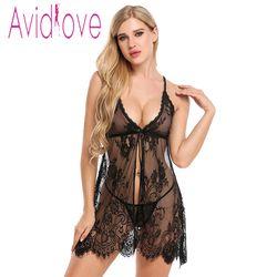 Avidlove nueva llegada sexy Encaje erótica Lencería pijamas mujeres verano dormir vestido Halter backless vestido de la muñeca