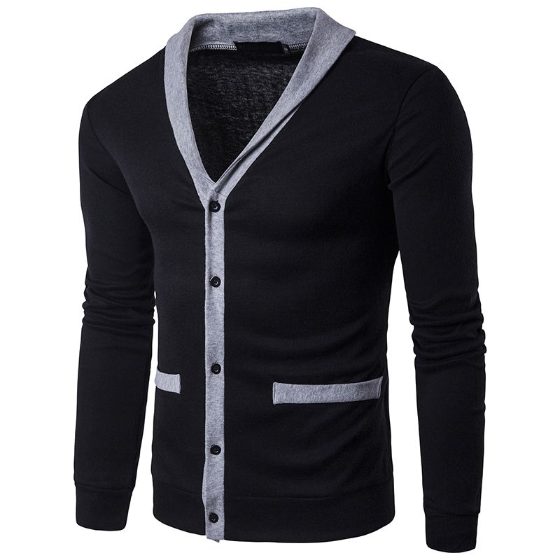 2017 New Fashion Autumn Patchwork Men's Sweaters High Quality V-Neck Splice Thin Cardigan Casual Coat Men Sweater Knitwear