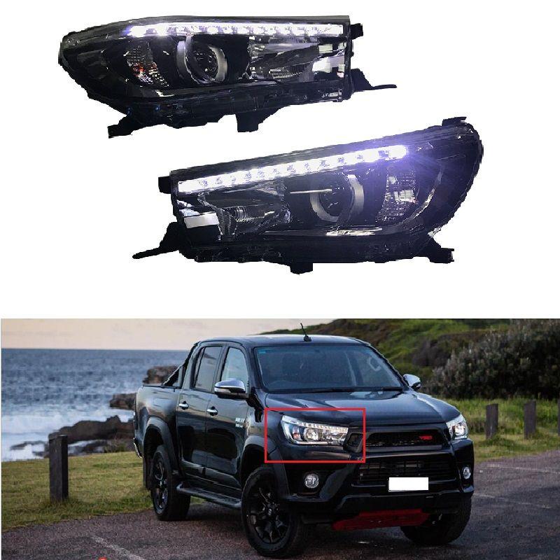 VORNE Auto LED scheinwerfer Fit für HILUX REVO 2015-2017 Scheinwerfer Angel eyes Signal licht kopf lichter LAMPE Auto licht Montage