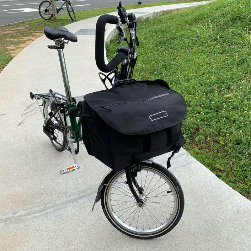 TWTOPSE S Taschen Wasserdichte Fahrrad Taschen Für Brompton Faltrad Gemüse Gepäck Korb Mit Regenschutz Träger Block