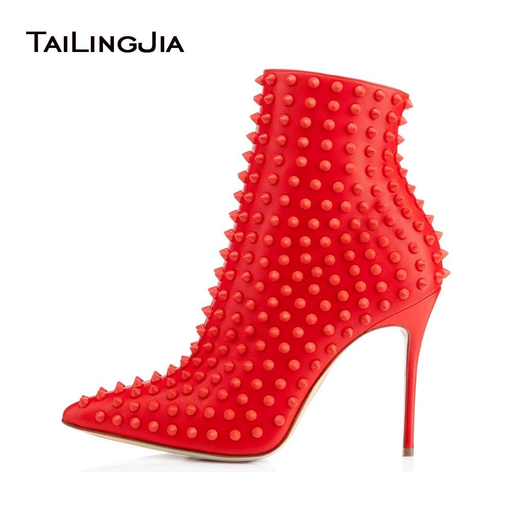 Black and Red Ankle Boots for Women 2017 Pointy Autum Winter Heels Rivets Extreme High Heel Booties Ladies Studded Shoes Size 44