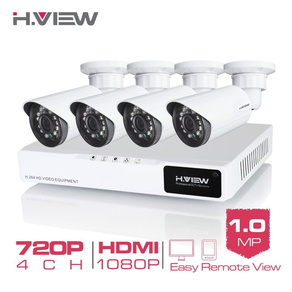 H.View 4CH CCTV System 720P HDMI AHD CCTV DVR 4PCS 1.0 MP IR Outdoor <font><b>Security</b></font> Camera 1200 TVL Camera Surveillance Kit