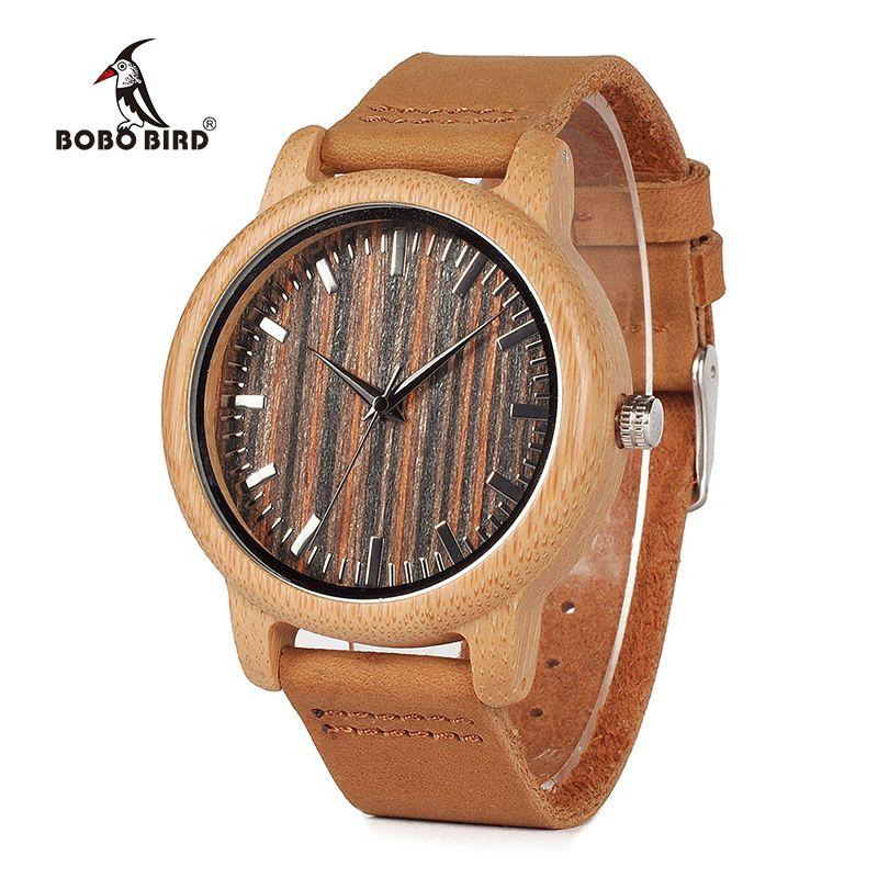 BOBO BIRD montres en bambou faites à la main pour hommes cadran en bois bracelet en cuir montre-bracelet à Quartz dans une boîte cadeau Relojes Hombre V-H08