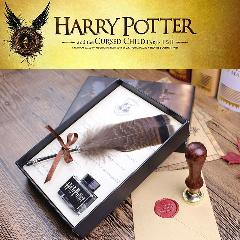 High Quality Harry Potter Feather Quill Calligraphy Pen Set Writing Ink Dip Pen With HP Sealing Wax Set And Diary For Fans Gift