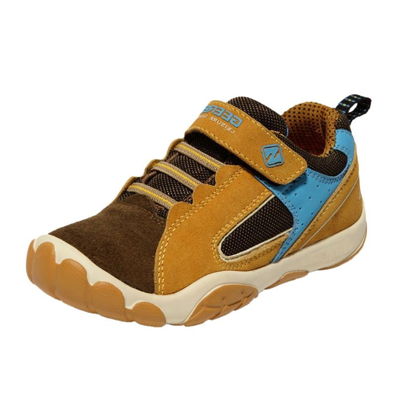 GEERBU Breathable Kids Shoes Leather Sneakers Children Sneakers, Brown-Boy