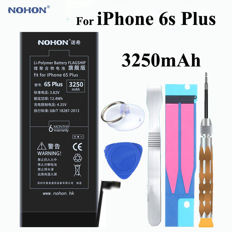 Original NOHON Battery 3250mAh For Apple iPhone 6s Plus 6sPlus Built-in Phone High Real Capacity Li-polymer With Tools + Package