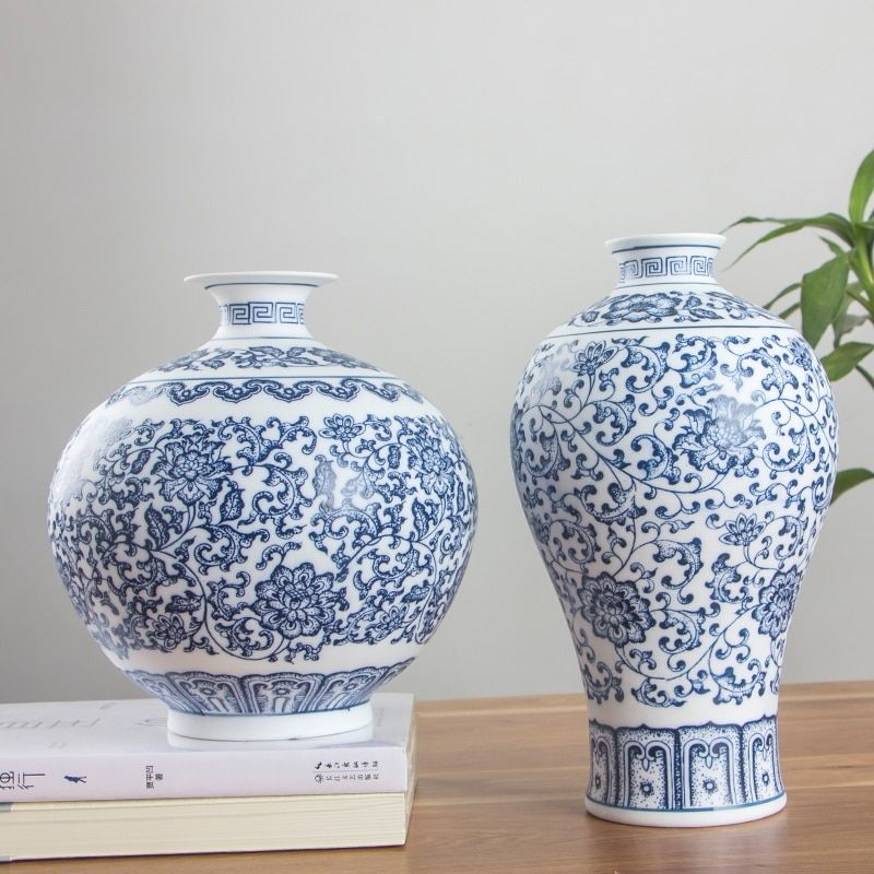 Pas de Vases en porcelaine bleu et blanc émaillés imbriqués Lotus Design fleur Vase en céramique décoration de la maison Jingdezhen Vases à fleurs