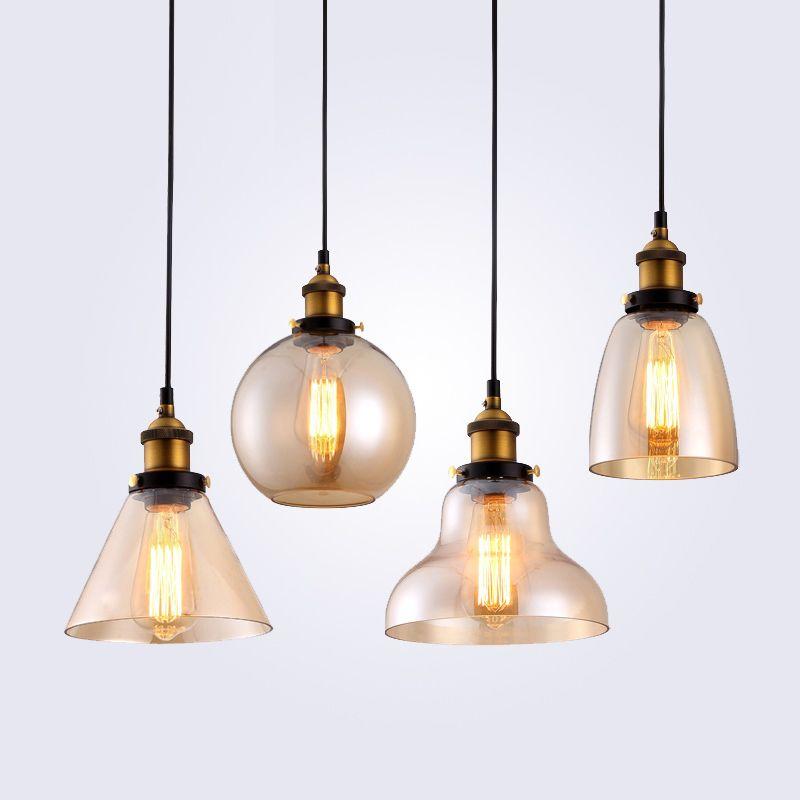 Rétro Vintage pendentif lumières clair verre abat-jour Loft pendentif lampes E27 110V 220V pour salle à manger décoration de la maison éclairage