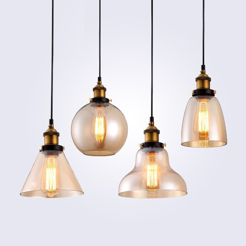 Retro <font><b>Vintage</b></font> Pendant Lights Clear Glass Lampshade Loft Pendant Lamps E27 110V 220V for Dinning Room Home Decoration Lighting