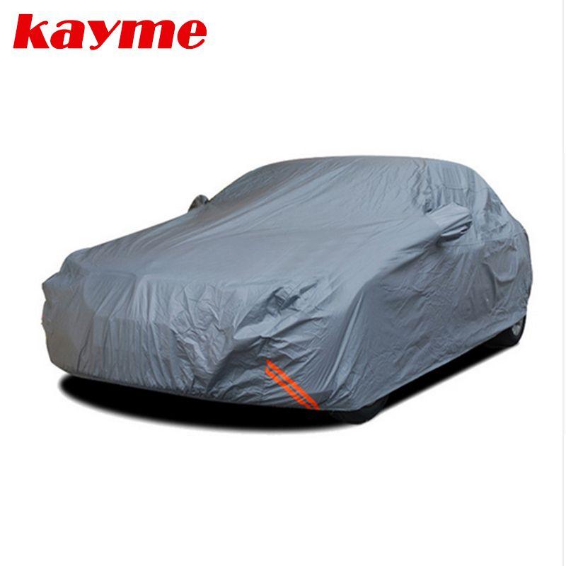 Kayme épaissir hiver bâches de voiture imperméables peva coton extérieur poussière pluie neige protection suv berline hayon couverture complète pour voiture