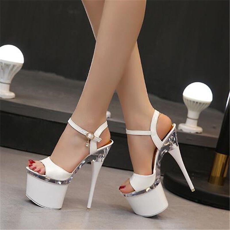Ultra high heels 18cm fine sandals women waterproof platform steel pipe shoes model show shoes nightclub shoes size 34-43