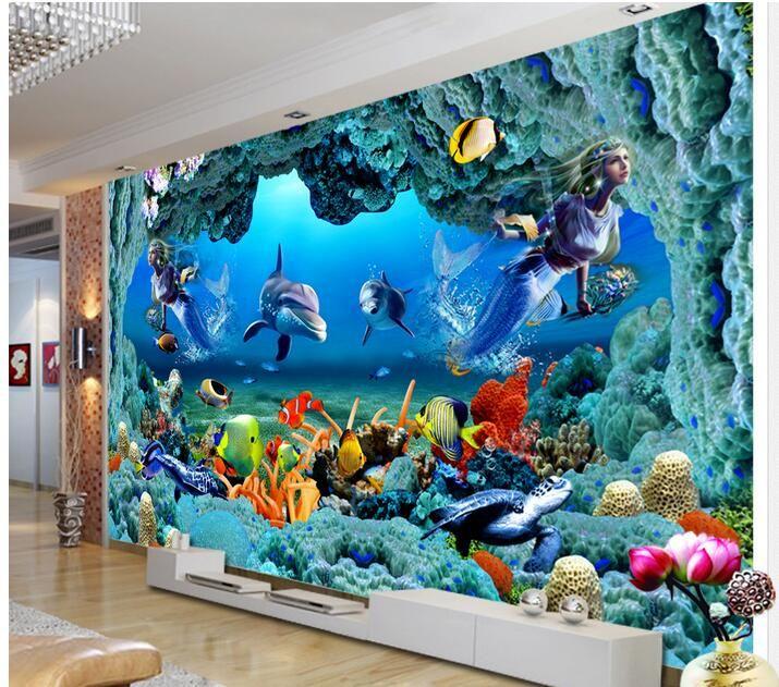 Papier peint 3d personnalisé photo non-tissé mural stickers muraux 3 d sirène sous-marine tunnel peinture salle papier peint pour murs 3d