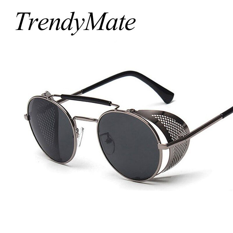 TrendyMate Retro Steampunk Sunglasses Round Designer Steam Punk Metal Shields Sunglasses Men Women UV400 Gafas de Sol 086M