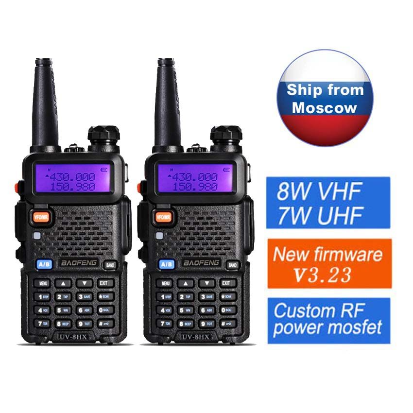 2 pcs D'origine Baofeng Talkie Walkie UV-5R 8 W Portable Radio walkie UV-8HX, mieux Que Baofeng UV 5R GT-3TP UV-5RA UV-5X uvb2