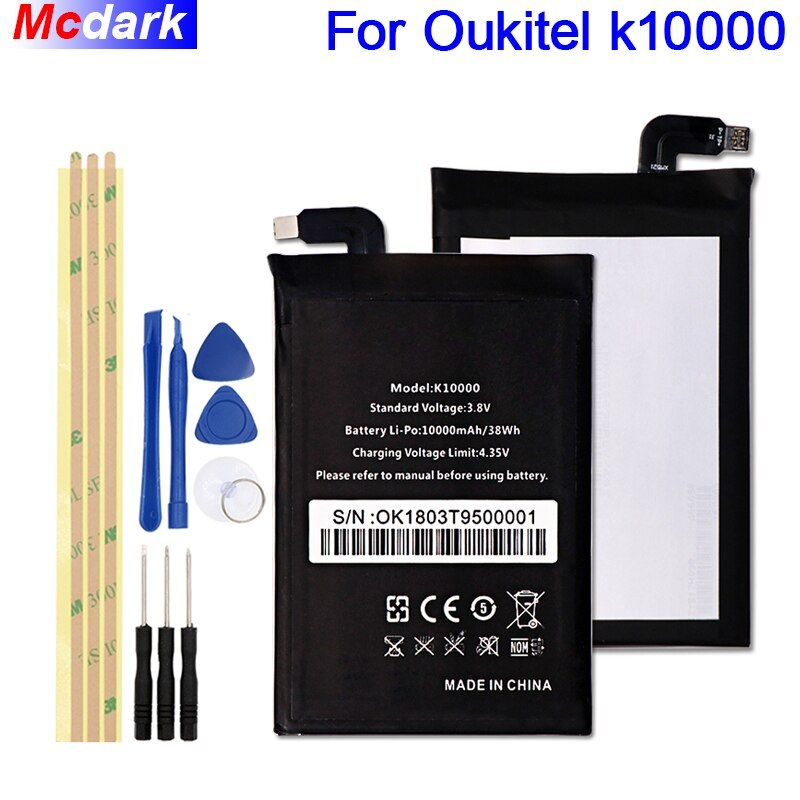 For Oukitel k10000 Battery Large Capacity 10000mAh Batterie Bateria Batterij Accumulator+Tools