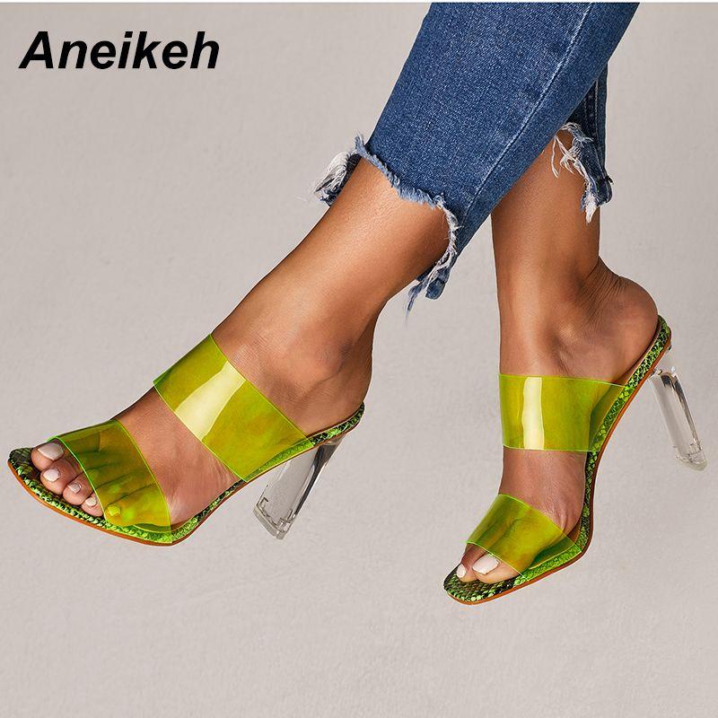 Aneikeh 2019 Snakelike sandales cristal ouvert bout haut talons femmes Transparent talon sandales pantoufles escarpins 11 CM grande taille 41 42