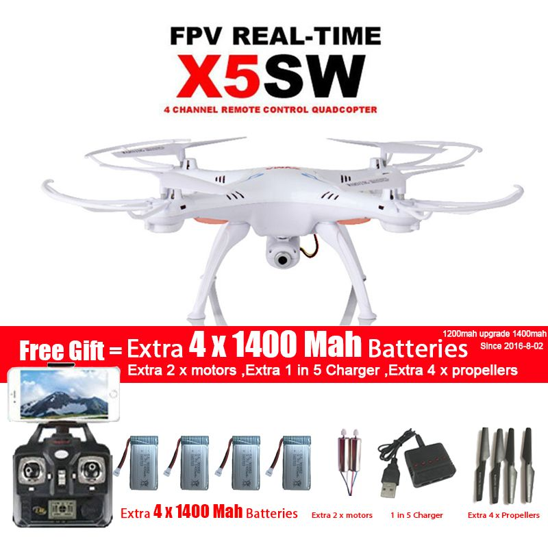 SYMA X5SW/X5SW-1 WIFI Drone Quadcopter With FPV Camera Headless 6-Axis Real Time Video RC Helicopter Quad copter With 5 Battery