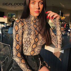 Realpopu serpent peau Col Roulé À Manches Longues Body Sexy Moulante De Mode Barboteuse Femmes Salopette Globale Tricoté Combinaison
