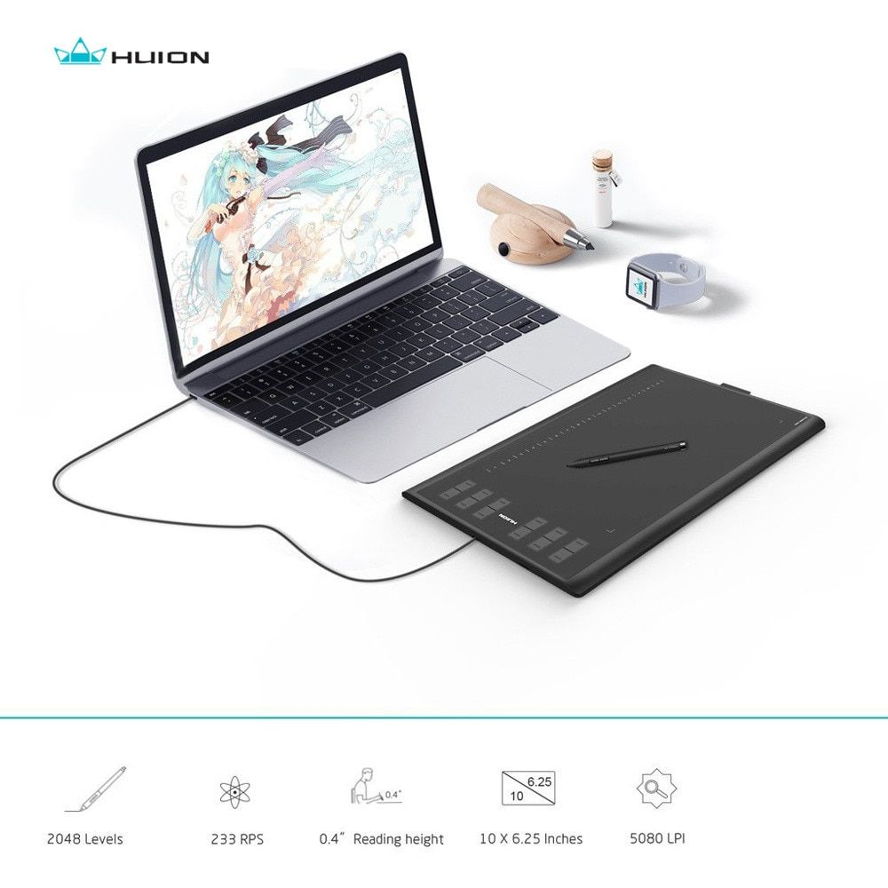 HUION New1060Plus 2048 Levels Graphic Tablets Digital Drawing Tablets Signature Pen Tablet with Film Gift
