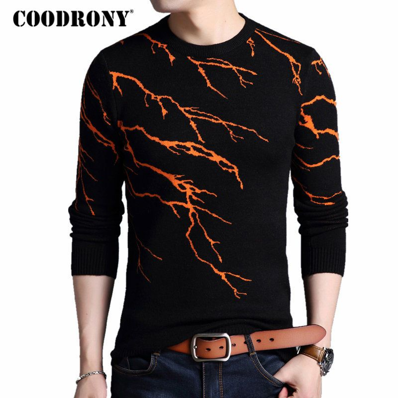 COODRONY Pullover Men 2017 New Winter Warm Mens Knitted Sweaters Cashmere Wool Men Sweater Fashion Flashing Lightning Pull Homme