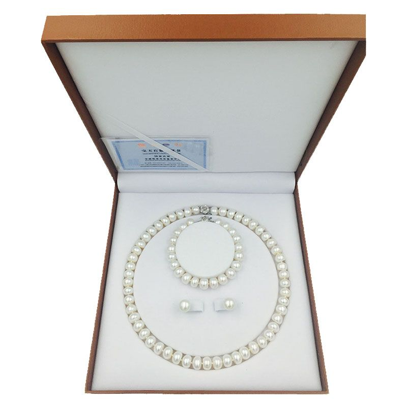 Sinya freshwater pearls bead necklace earring bracelet jewelry Set 18inch length necklace pearl dia 9-10mm hot sale for women